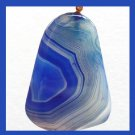 Light & Dark Blue AGATE Freeform Gemstone Yellow Gold Pendant