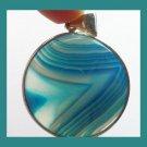 Round Blue Onyx Gemstone Silver Pendant