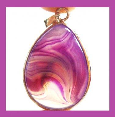 Purple Onyx Pear Shaped Gemstone Silver Pendant