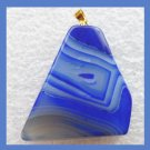 Blue ONYX Freeform Gemstone Yellow Gold Pendant