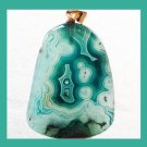 Green & White Freeform AGATE Gemstone Yellow Gold Pendant