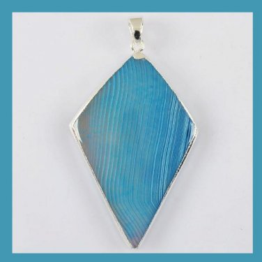 Blue Diamond Shaped Agate Gemstone Silver Wrapped Pendant