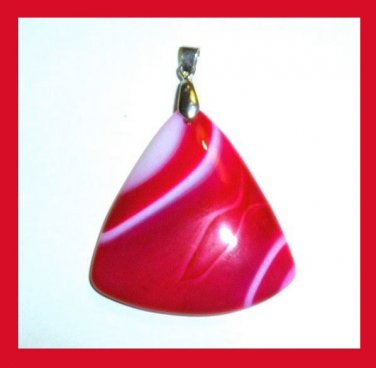 Red & White Agate Triangle Shaped Gemstone Sterling Silver Pendant