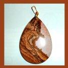 PICTURE JASPER Brown White Tan Pear Cut Teardrop Gemstone 10K Yellow Gold Pendant