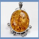 Brown Yellow AMBER Oval Cut Cabochon Created Gemstone 925 Sterling Silver Overlay Pendant