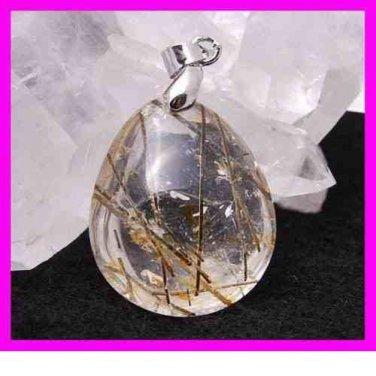 TOURMALINE & QUARTZ Pear Cut Gemstone 925 Sterling Silver Pendant