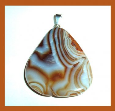Brown & White Striped AGATE Triangle Shaped Gemstone 10k Yellow Gold Pendant