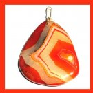 Orange Yellow Peach Brown AGATE Triangle Shaped Gemstone 10k Yellow Gold Pendant