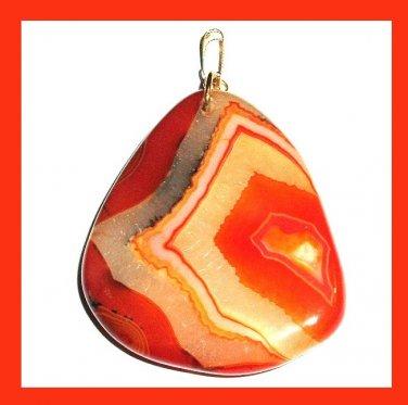 Orange Yellow Peach Brown AGATE Triangle Shaped Gemstone 10k Yellow Gold Pendant