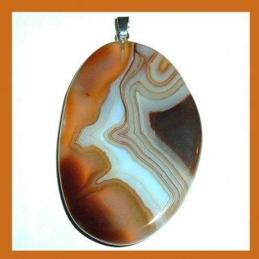 Brown White Black AGATE Freeform Shaped Gemstone Sterling Silver Pendant