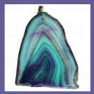 Blue Green Purple AGATE Slice Freeform Shaped Gemstone Sterling Silver Pendant