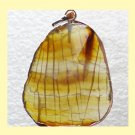 Yellow Brown White Striped AGATE Slice Freeform Gemstone Sterling Silver Pendant