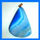 Blue and White QUARTZ Freeform Shaped Gemstone 10k Yellow Gold Pendant
