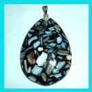 White SEA SHELLS in Black Teardrop 925 Sterling Silver Pendant