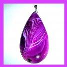 Violet Purple ONYX Teardrop Shaped Gemstone 925 Sterling Silver Pendant