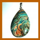 Green Brown CRAZY AGATE Teardrop Gemstone 925 Sterling Silver Pendant