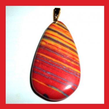 Orange Red RAINBOW AGATE Teardrop Gemstone 10K Yellow Gold Pendant
