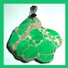 JASPER & PYRITE Green Gold Freeform Shaped 18K White Gold Pendant