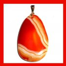 Orange & White AGATE Teardrop Shaped Gemstone 10k Yellow Gold Pendant