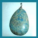 OCEAN JASPER Blue Teardrop Pear Cut Gemstone 925 Sterling Silver Pendant