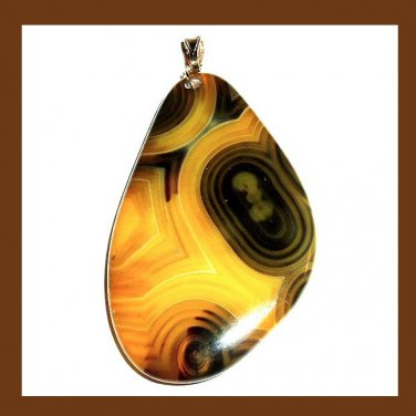 Brown & Yellow AGATE Freeform Gemstone 925 Sterling Silver Pendant