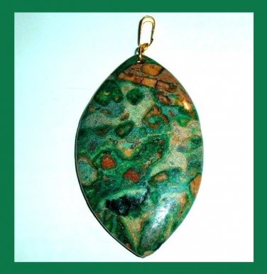 OCEAN JASPER Green & Brown Football Shaped Marquise Gemstone 10k Yellow Gold Pendant