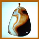 Brown White Orange AGATE Freeform Shaped Gemstone 10k Yellow Gold Pendant