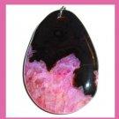 Black & Pink QUARTZ & AGATE Oval Gemstone Sterling Silver Pendant