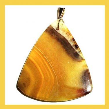 Yellow & Brown ONYX Triangle Shaped Gemstone 10k Yellow Gold Pendant