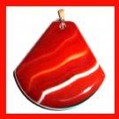 Orange & White ONYX Trapazoid Shaped 10k Yellow Gold Gemstone Pendant