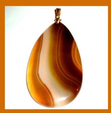 Brown White Yellow AGATE Teardrop Pear Cut Gemstone 10K Yellow Gold Pendant