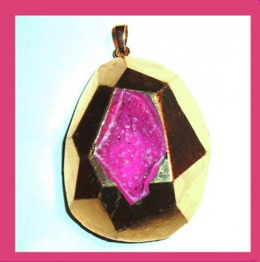 18K Yellow Gold Wrapped Sparkling Amethyst Geode Agate Gemstone Pendant