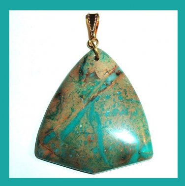 Blue & Brown SNAKE SKIN JASPER Gemstone Triangle Shaped 10k Yellow Gold Pendant