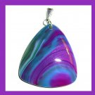 Purple & Turquoise Blue AGATE Gemstone Triangle Shaped Trillion Cut Sterling Silver Pendant