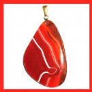 Shades of Orange AGATE Freeform Shaped Gemstone 10k Yellow Gold Pendant