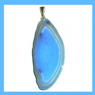 Blue AGATE Slice Freeform Shaped Gemstone Sterling Silver Pendant