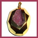 18K Yellow Gold Wrapped Amethyst Geode Gemstone Pendant