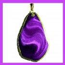 18k Yellow Gold Wrapped Violet Purple AGATE Freeform Shape Gemstone Pendant