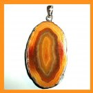 Orange AGATE Oval Shaped Gemstone Sterling Silver Pendant