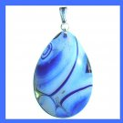 Light & Dark Blue AGATE Teardrop Pear Shaped Gemstone Sterling Silver Pendant