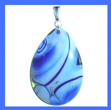 Light & Dark Blue AGATE Teardrop Pear Shaped Gemstone Sterling Silver Pendant