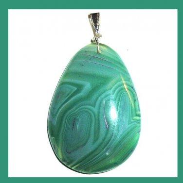 Green AGATE Teardrop Gemstone Sterling Silver Pendant