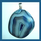 Blue Striped AGATE Roundish Shape Gemstone Sterling Silver Pendant