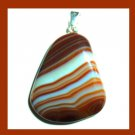 Brown & White Stripes AGATE Teardrop Gemstone Sterling Silver Pendant