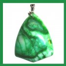 Green & White AGATE Triangle Shaped Gemstone Sterling Silver Pendant