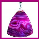 Purple Violet Picture AGATE Triangle Shaped Gemstone Sterling Silver Pendant