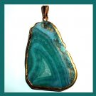 18k Yellow Gold Wrapped Blue Green AGATE Slice Freeform Gemstone Pendant