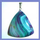 Blue Purple Green AGATE Triangle Shaped Trillion Gemstone Sterling Silver Pendant