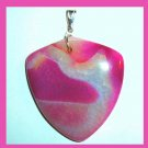 Red Pink White Agate Upside-down Triangle Gemstone Sterling Silver Pendant