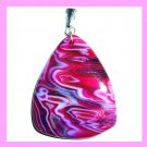 Red Pink Purple Zig Zag Striped AGATE Triangle Shaped Trillion Gemstone Sterling Silver Pendant